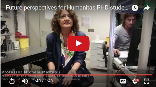 Prof. Matteoli presents the main opportunities for students who complete Humanitas PhD program